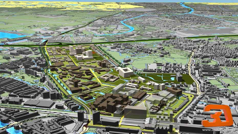 Picture showing a visual of a city planning situation of the city of Leiden, the Leiden university in The Netherlands, created by ITSALL3D