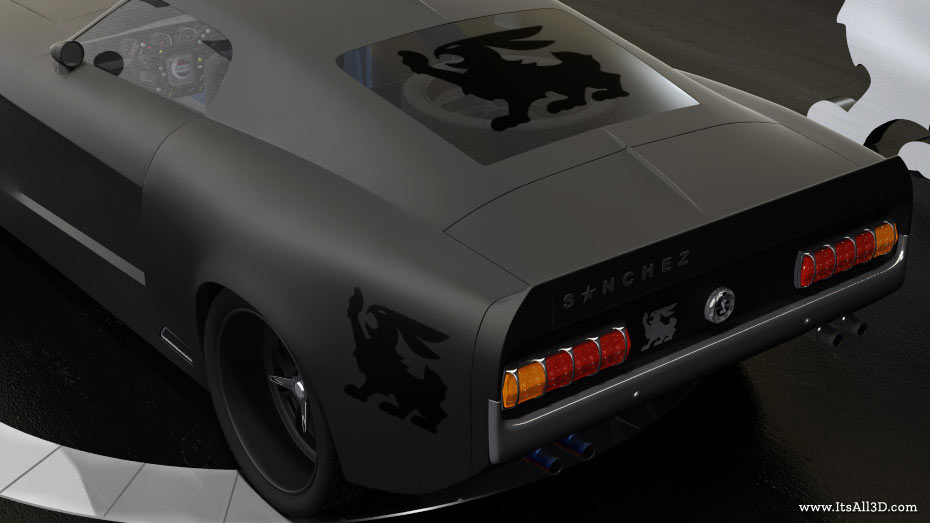 Picture showing a 3D rendering of a FORD GT500, showing the back side, created by ITsALL3D