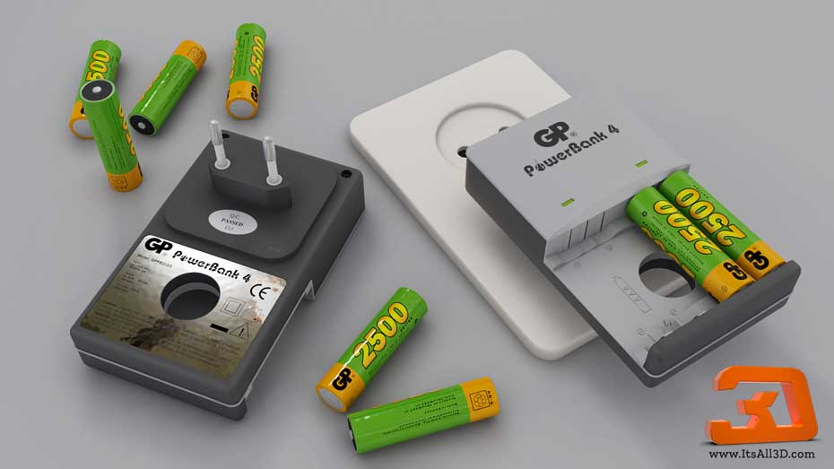 Picture showing 3D model of a battery charger, a powerbank, created by ITSALL3D