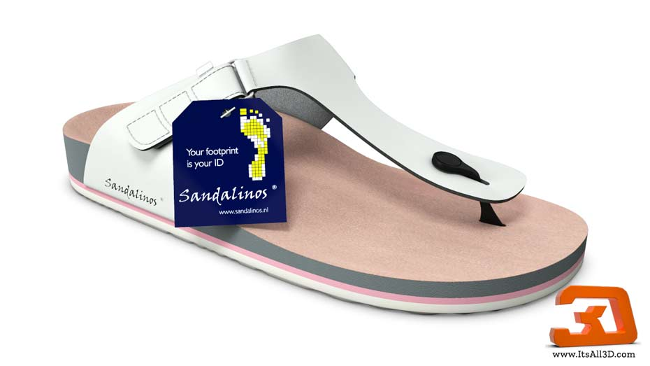 Picture showing a 3D model of a sndal, flip-flops, for SANDALINOS - Custum made sandals, created by ITSALL3D
